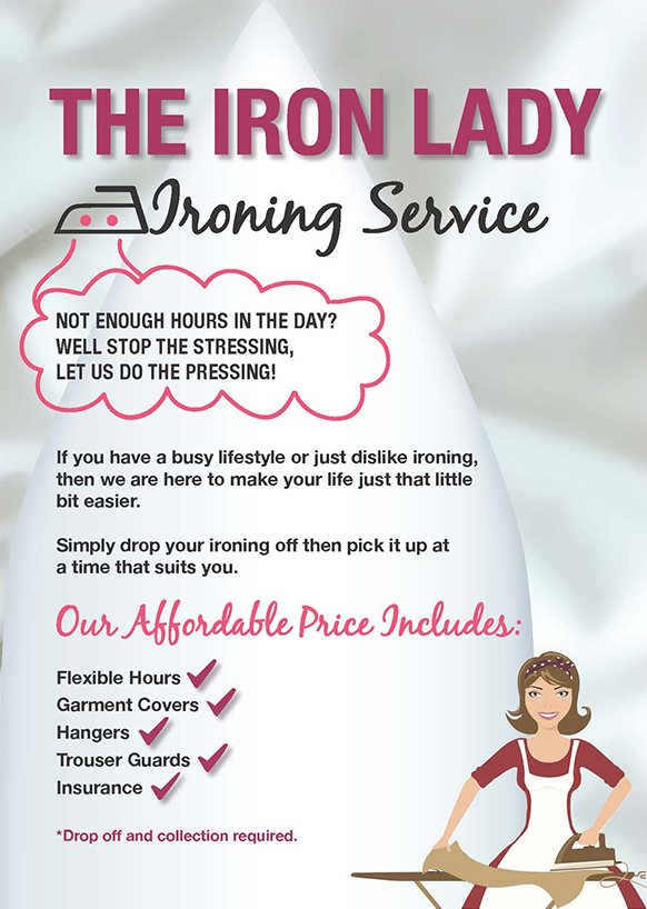 ironing service flyer template leaflet design for the iron lady elements
